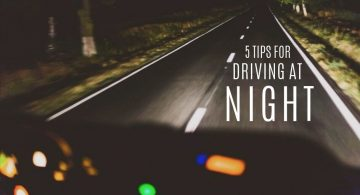 blog image of car on a dark road; blog title: 5 Tips for Driving at Night